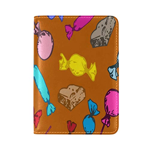 Passport Cover Case Candy Sweet Color Girl Hand Drawn Leather&microfiber Multi Purpose Print Passport Holder Travel Wallet For Women And Men 5.51x3.94 In ()
