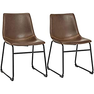 Phoenix Home PU Leather Dining Chair Set of 2, 18.11″ Length x 21.65″ Width x 30.7″ Height, Brown