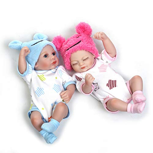 Reborn Baby Doll Twins Silicone Full Body 10-inch Mini Realistic Lifelike Baby Doll Washable Newborn Twins Baby Toys Gift Sets Boy and Girl Toys for Ages 3+