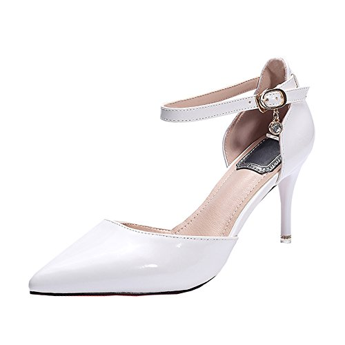 Mid White fereshte Stiletto Spring Pointed Ankle Shoes Wedding Pumps Leather Toe Patent Strap Dress Party Women 7CM Heels Court ppWUnRr
