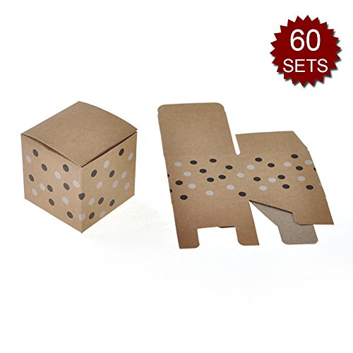 Aspire Set of 48 2-1/4'' X 2-1/4'' X 2-1/4'' Craft Paper Candy Box Brown Cute Party Wedding Gift Boxes-Brown-60 Sets by Aspire