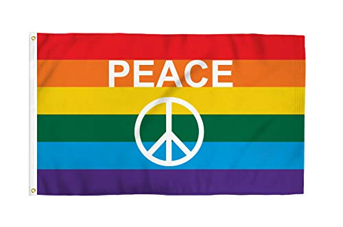 Brass Peace Sign - Rainbow Peace Sign 3x5 Foot LGBTQ+ Pride Flag - Bold Vibrant Colors, UV Resistant, Golden Brass Grommets, Durable 100 Denier Polyester, Mighty-Locked Stitching - Perfect for Indoor or Outdoor Flying!