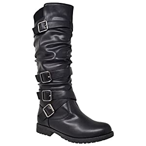 Womens Knee High Boots Block Heel Strappy Slouchy Faux Leather Adjustable Buckles Black SZ 7