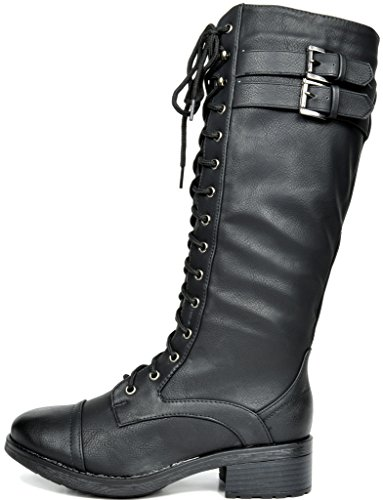 DREAM PAIRS Women's Georgia Black Faux Leather Pu Knee High Riding Combat Boots - 10 M US