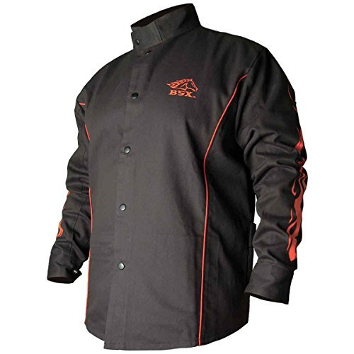 BSX Flame-Resistant Welding Jacket - Black with Red Flames, Size Large by Revco