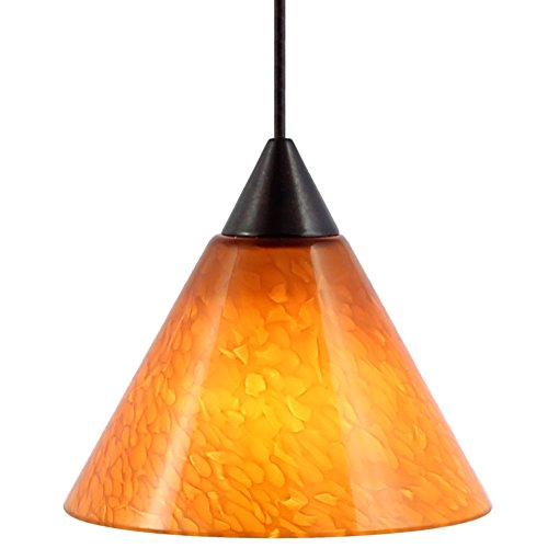 Direct-Lighting Amber Glass Mini Low Voltage Pendant Light, Ready To Install, DPNL-49259-AM, UL Rated