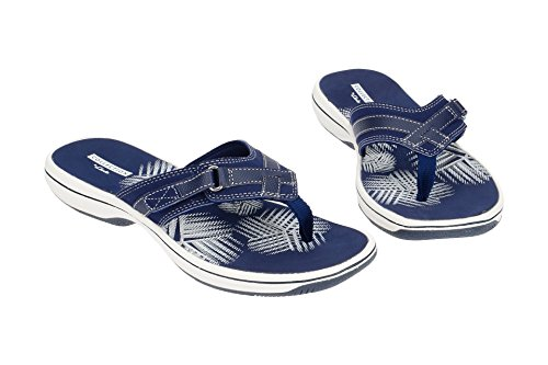 Clarks Sandals 3 Navy Textile Womens Synthetic Brinkley UK Sea UwxA1YqUr