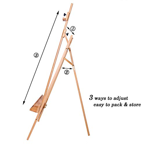 ATWORTH Large Painters Easel Adjustable Beech Wood Artist Easel, Studio Easel for Adults with Brush Holder, Holds Canvas up to 48'' by ATWORTH (Image #2)