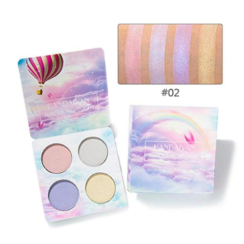 Highlighter Powder Palettes Shimmer Waterproof Professional Matte High Light Powder Face Makeup Bronzer Highlighter Powder 4 Colors Highlighter Palettes (B)