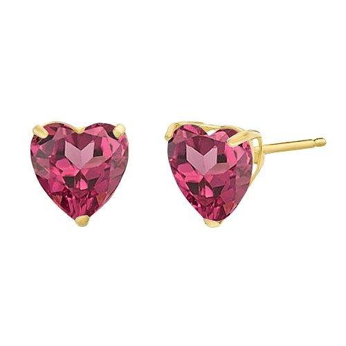 Lavari - 1.60 cttw Heart 6MM Red Rhodalite Garnet 10K Yellow Gold Stud ()