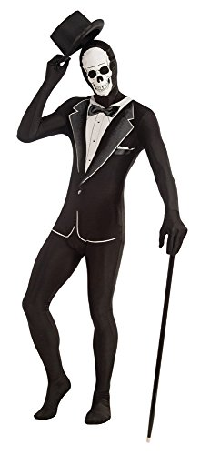 Forum Novelties Unisex Disappearing Man Patterned Stretch Body Suit Costume Skull Tuxedo, Black/White, (Funny Male Halloween Costumes Uk)