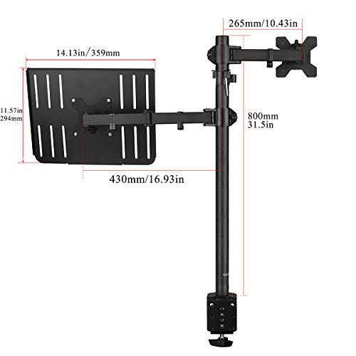 Suptek Full Motion Computer Monitor and Laptop Riser Desk Mount Stand, Height Adjustable (800mm), Fits 13-27'' Screen and up to 17'' Notebooks, VESA 75/100, up to 22lbs for Each (MD6832TP004) by suptek (Image #2)