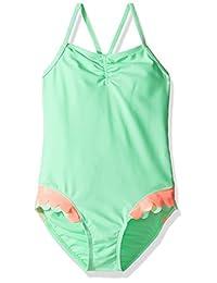 Hulu Star girls Mermaid Scallops One Piece Swimsuit