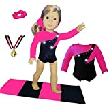 Doll Connections Gymnastics Leotard Outfit Compatible with American Girl Doll Accessories and Our Generation - 18 inch Doll Clothes (4 Pieces in All)