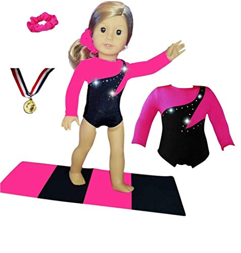 Doll Connections Gymnastics Leotard Outfit Compatible with American Girl Doll Accessories and Our Generation - 18 inch Doll Clothes (4 Pieces in -