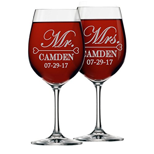 Mr and Mrs Wine Glasses - Personalized Engraved Wedding Gifts for Couples - Custom Monogrammed for Free - Set of 2