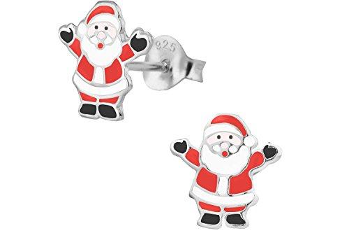 Hypoallergenic Sterling Silver Santa Clause Christmas Stud Earrings for Kids (Nickel Free)