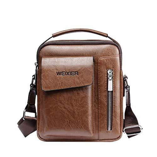 (ONLY TOP Men's Leather Cowhide Vintage Messenger Bag Shoulder Bag Crossbody Bag)