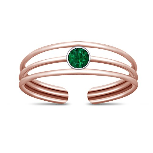 TVS-JEWELS Solid 925 Sterling Silver Round Cut Green Sapphire Solitaire Toe Ring, Mid Ring - Sapphire Solitaire Green