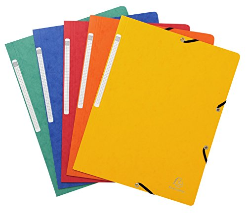 Exacompta Ref. 55410E Pack of 10 Elastic Folders Glossy Card 355 GSM A4, Assorted - Ranger Folder