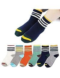 Queen-Ks Unisex-Kids Three Bars Striped Contrast Cotton Socks 6 Pairs
