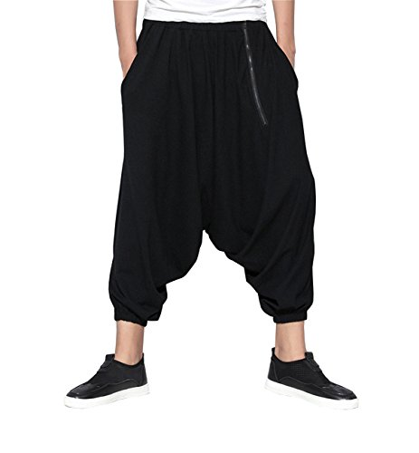 ELLAZHU Men Dance Hippie Zipper Big Crotch Harem Pants - Hippie Fashion Male
