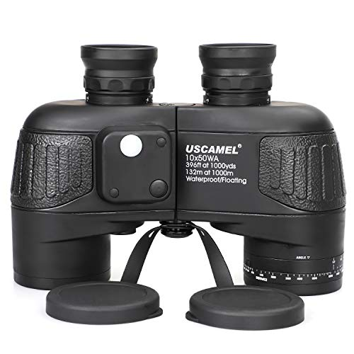 USCAMEL 10x50 Marine Binoculars for Adults, Military Binoculars Waterproof with Rangefinder Compass BAK4 Prism FMC Lens Fogproof for Navigation Birdwatching Hunting ... (10x50)