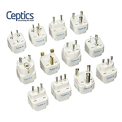 Ceptics 12Pcs International Travel Worldwide Grounded Universal Plug Adapter Set - Charge Your Devices from Anywhere in The World: Home Audio & Theater