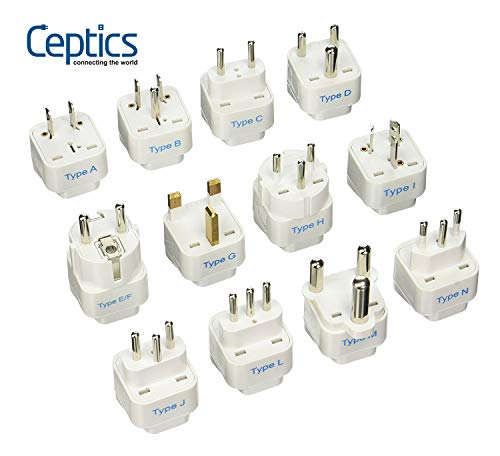 (Ceptics GP-12PK International Travel Worldwide Grounded Universal Plug Adapter Set, 12 Pieces)