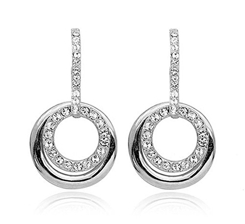 Acefeel Fashion Jewelry Clear Crystal Double Open Circle Dangle Rotatable Earrings E147 Double Open Circle Dangles