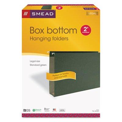 Two Inch Capacity Box Bottom Hanging File Folders, Legal, Green, 25/Box, Total 125 EA
