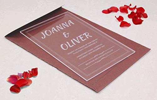 (Personalized Clear Acrylic (2mm) wedding invitation with Envelope + Self Mailing RSVP/Affordable in Price/Rustic, Floral, Engagement, Birthday, Baby Shower, Anniversary/Size : 6