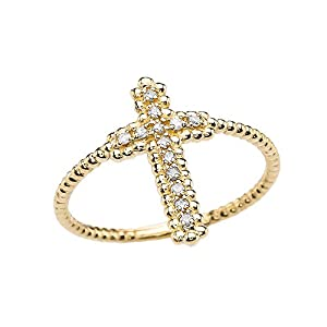 10k Yellow Gold Dainty Diamond Cross Beaded Index Ring