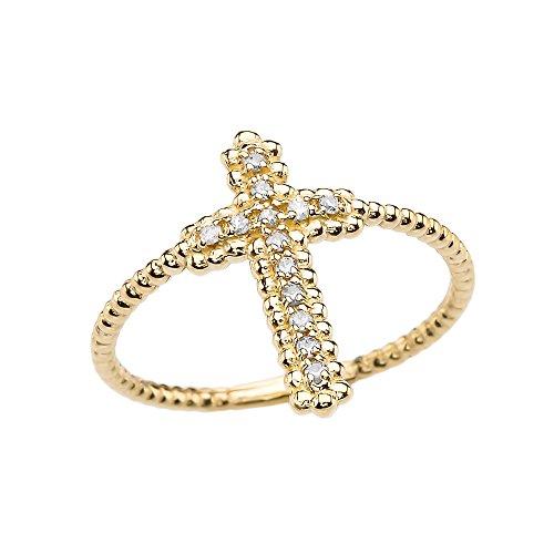 10k Yellow Gold Dainty Diamond Cross Beaded Index Ring(Size 8)