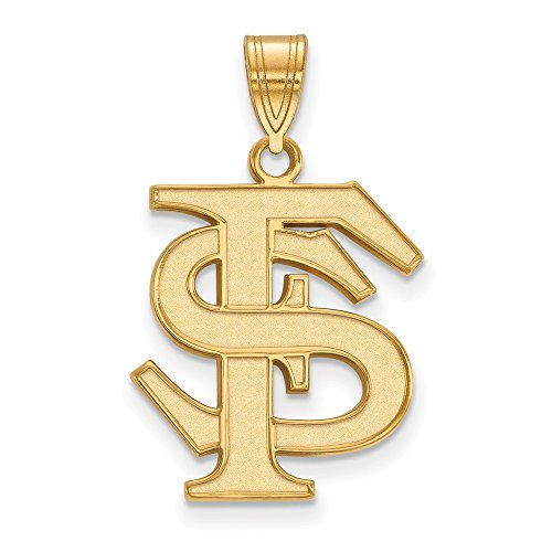 Sterling Silver w/ 14K Yellow Gold-Plated LogoArt Official Licensed Collegiate Florida State University (FSU) Large (Solid 14k Gold University Seal)