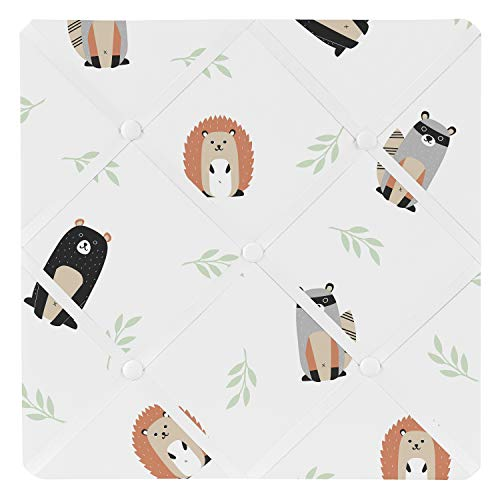 (Sweet Jojo Designs Bear Raccoon Hedgehog Forest Animal Fabric Memory Memo Photo Bulletin Board for Woodland Pals Collection - Neutral Beige, Green, Black and Grey)