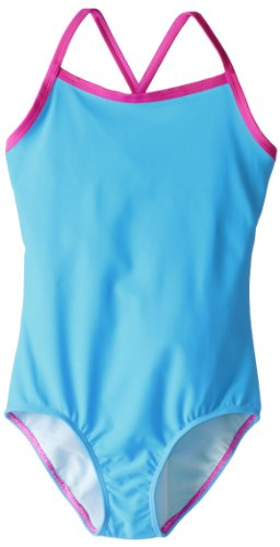 Kanu Surf Big Girls' Mermaid Solid One-Piece Swimsuit, Blue, 10