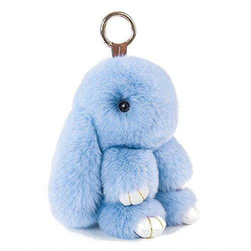CHMING Cute Easter Bunny Doll Keychain Rex Rabbit Fur Key Chain for Women Handbag Charms from CHMING