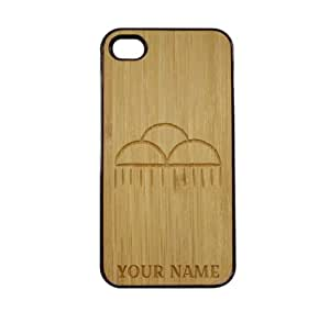 SudysAccessories Personalized Customized Custom Rain Clouds On Wood Engraved Black iPhone 4 Case - For iPhone 4 4S 4G - Designer Real Bamboo Back Case Verizon AT&T Sprint(Send us an Amazon email after purchase with your choice of NAME)