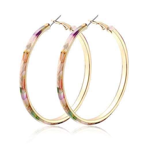 HEIDKRUEGER Acrylic Earrings Hoop Lightweight Resin Earrings Geometric Round Statement Stud Earrings Bohemian Fashion Jewelry (Floral) - Earrings Round Floral