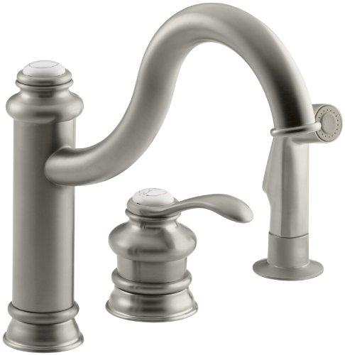 KOHLER K-12185-BN Fairfax Single Control Remote Valve Kitchen Sink Faucet, Vibrant Brushed Nickel -
