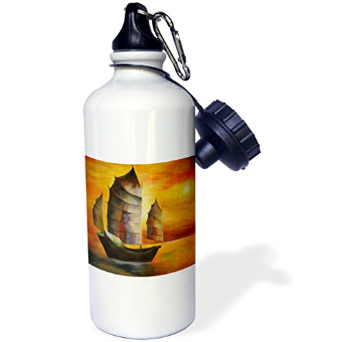 Chinese Junk Boats (3dRose wb_63140_1 Chinese Junk-Fishing Boat, Chinese Junk, Yellow, Orange, Green, Boats, Sailing, Impressionism Sports Water Bottle, 21 oz, White)