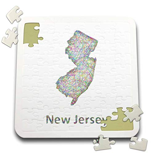 3dRose David Zydd - Map Designs - New Jersey State Map - Colorful line Art Graphic Design - 10x10 Inch Puzzle (pzl_296077_2)