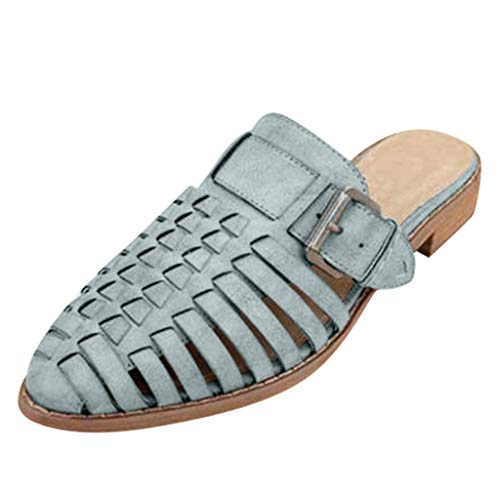 ✔ Hypothesis_X ☎ Womens Pointed Toe Ballet Flat Comfort Slip On Hollow Belt Buckle Cute Leather Slippers Gray -