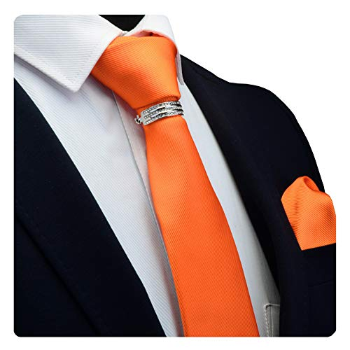 GUSLESON Brand Mens Wedding Solid Pumpkin Orange Tie Necktie and Pocket Square Collar Clasp Pin Sets (0799-13-S)