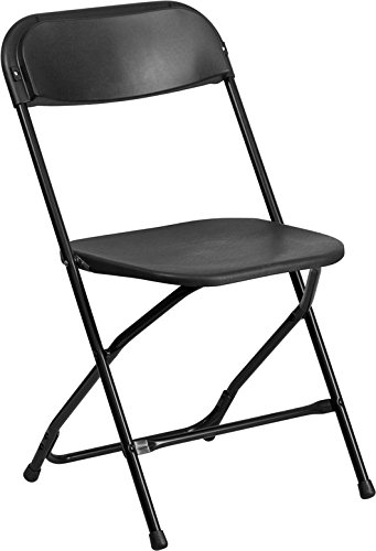 Flash Furniture Hercules Series Capacity Plastic Folding Chair, 800 lb, Black