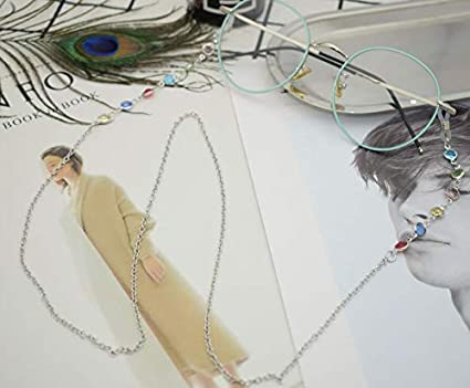 Chaîne Eyewear Retainer multicolores Perles Lunettes Cordon tour de cou Chaîne 1pièce 80cm Silver