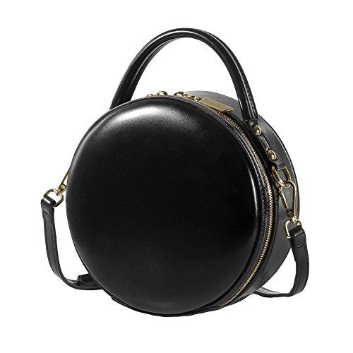 Petite Black Vintage Fourre tout Sac Main Mini épaule Sacs body Messenger à Cross Cuir Sac Circle à Ronde En Main Véritable Sac 6qt1w