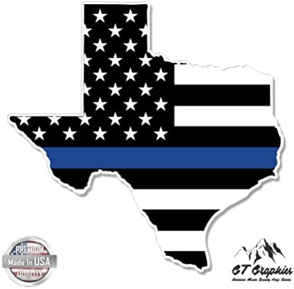 Cop Texas Thin Blue Line vinyl decal With any Number Police TX blue lives