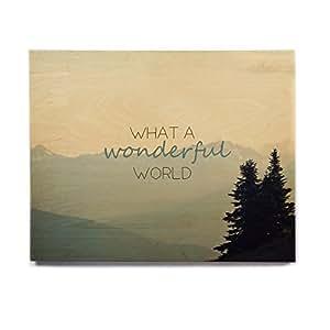 "KESS InHouse Robin Dickinson What A Wonderful World Teal Tan Birchwood Wall Art, 8"" x 10"""